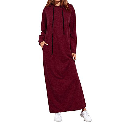 Women's Loose Long Sleeve Hooded Dress