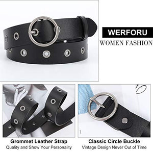 Women Casual Dress Belt  with Round Buckle