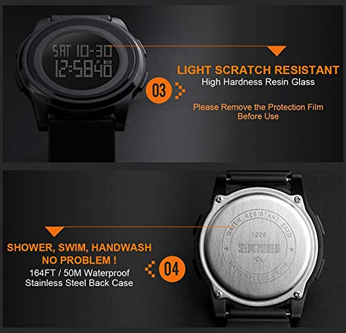 Men's Digital Sports Watch RED LED Screen Electronic Military Waterproof Watches for Outdoor Running with Stopwatch LED Screen
