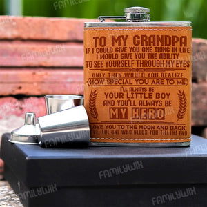 Grandson To Grandpa, You'll Always Be My Hero Stainless Steel Flask DNL872b