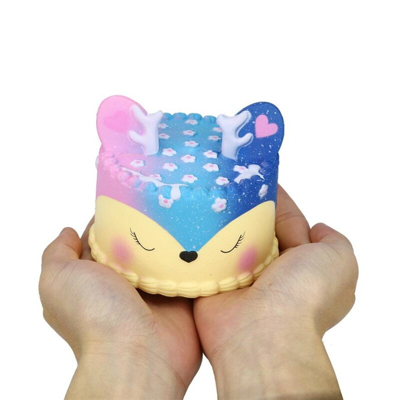 Cute Rainbow Galaxy Colorful Deer Cake Slow Rising Squishy Cute Scented