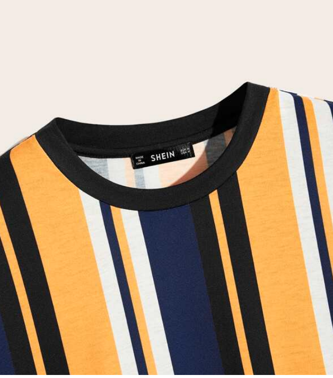 Men Striped Short Sleeve Tee / Medium