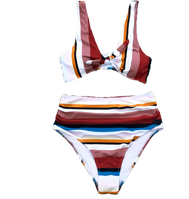 Cupshe Striped Hi-Waisted Bikini