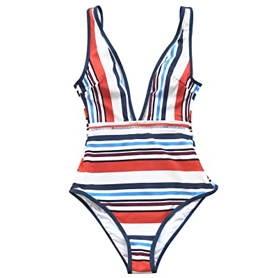 Cupshe Striped Plunging Swimsuit