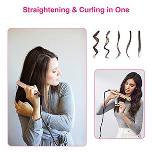 Hair Curling Iron, 2 in 1 Twist Hair Straightening Wave Wand