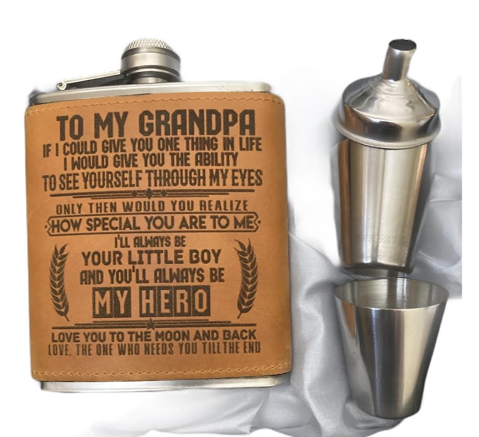 """To My Grandpa"" Stainless Steel Flask"
