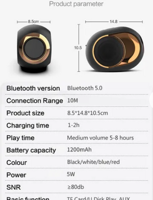 Portable/Wireless Bluetooth 5.0 Speakers Metal Bass