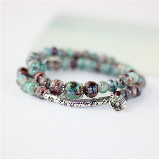 Double Ceramic Beads and Silver Charm Bracelet - Abundance Flows