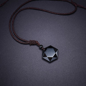 Natural Obsidian Hexagram Pendant - Abundance Flows