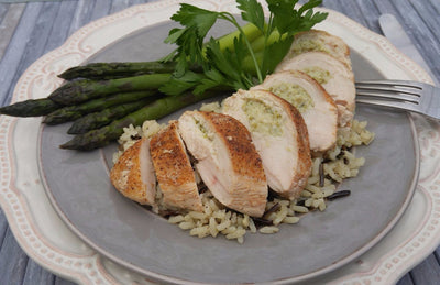 Asparagus-Chèvre Stuffed Chicken Breast with Wild Rice Pilaf
