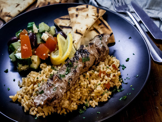 Grilled Santorini Pork Souvlaki with Mediterranean Rice