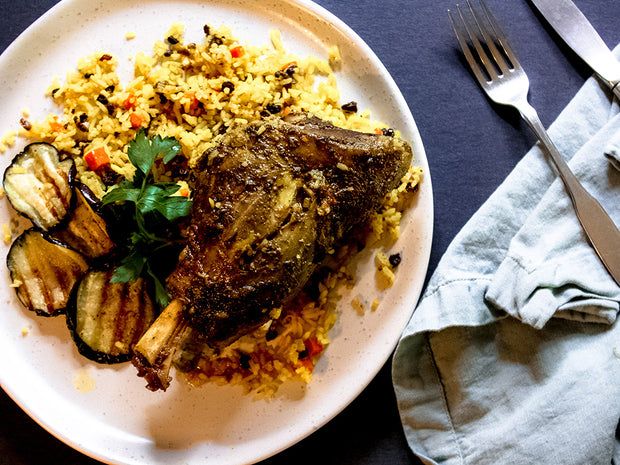 Braised Persian Lamb Shank with Persian Jeweled Rice
