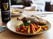 Guinness Braised Lamb Shanks with Colcannon and Roasted Organic Carrots and Parsnips