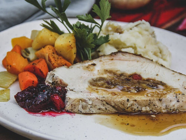 Holiday Roasted Turkey Breast with Winter Fruit Stuffing Dinner for One