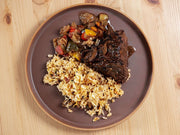 Grilled Korean Boneless Beef Short Ribs with Kimchi Fried Rice and Asian Ratatouille