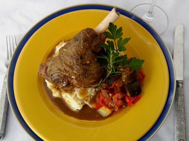 Braised Lamb Shank with Roasted Garlic and Onions