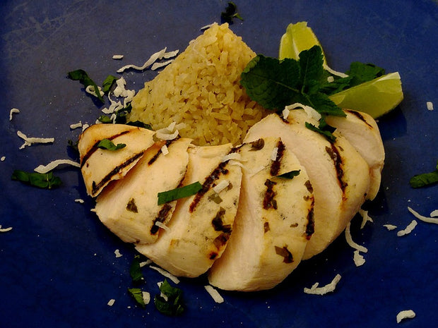 Grilled Mojito Chicken Breast with Coconut Rice