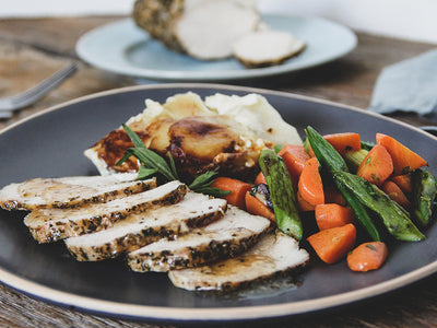 Country Herb Organic Chicken Breast Roast Dinner for Four with Chèvre Scalloped Potatoes and Spring Vegetable Medley