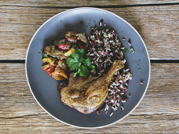 Roasted Confit Duck Leg with Asian Raspberry Sauce, served with Red and Black Thai Rice, Asian Ratatouille