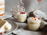 Lemon Dream Cake in a Jar with Prosecco and Pomegranate Pearls