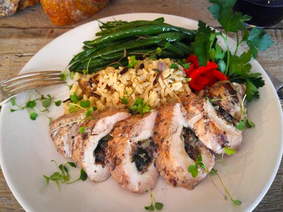 Grilled Mushroom-Artichoke Stuffed Chicken Breast