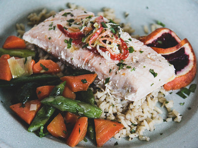 Jail Island Salmon Fillet in Blood Orange Pernod Butter with Coconut Rice and Spring Vegetable Medley