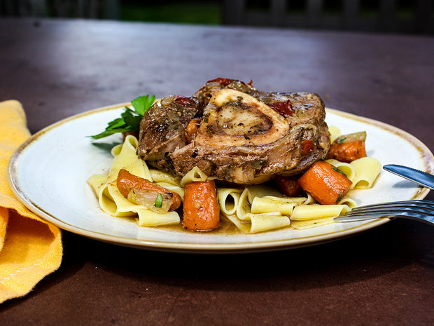 Braised Veal Osso Buco Milanese with Taglietelle Pasta