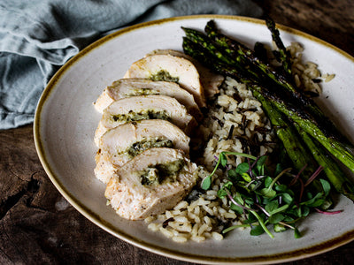 Spinach, Apple and Brie Stuffed Chicken Breast with Wild Rice Pilaf