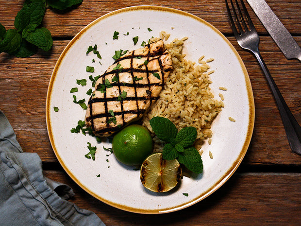 Grilled Mojito Chicken Breast with Lime, Rum and Mint