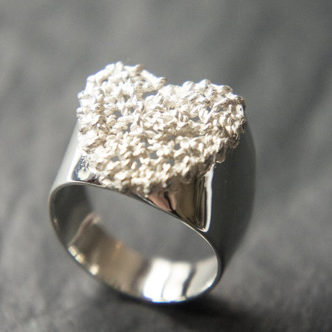 Crochet Heart Ring Silver