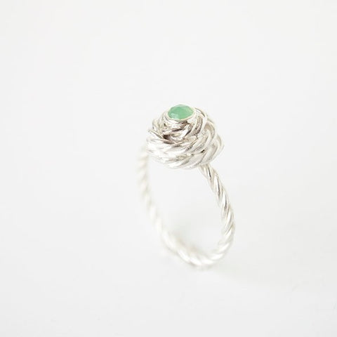 Green Chrysophrase Flora Flower ring in Silver