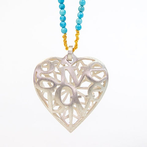 Heart pendant Give Love ! in silver