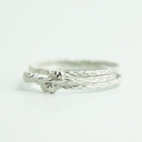 Three Hair Braid Rings in Silver #3 (Thin)