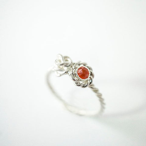 Flora ring in silver with Carnelian rose cut stone.