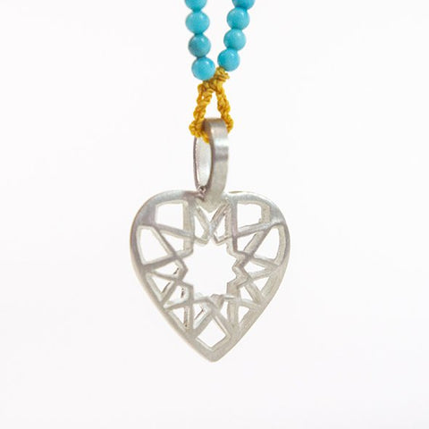 Heart pendant on Turquoise necklace