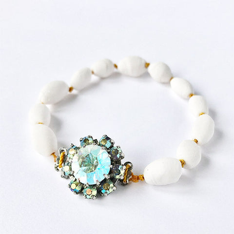 Porcelain Pearls Bracelet With Vintage Lock