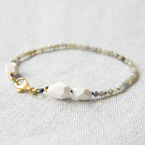 Facet Raw Porcelain Beads And Labradorite Bracelet