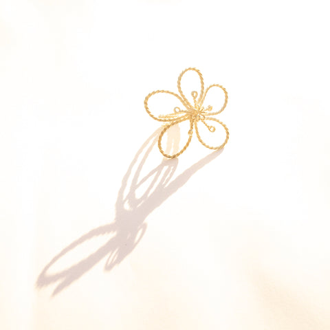 GOLD plated, Large Silver Flora Filigrain Ring