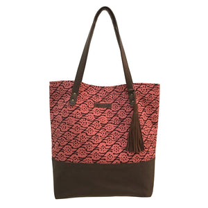 Batik Boutique Tote Bag - Brown Bloom