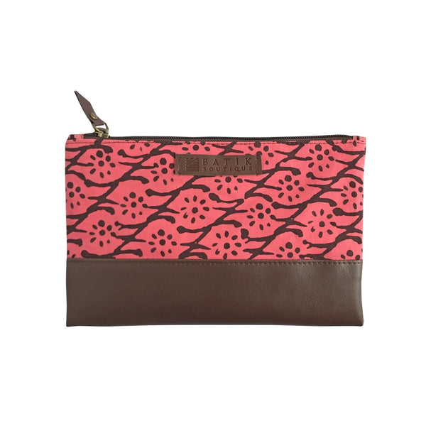 Batik Boutique Zip Pouch - Brown Bloom