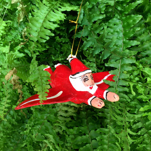 Hla Day Papier Mache Flying Ornament - Santa