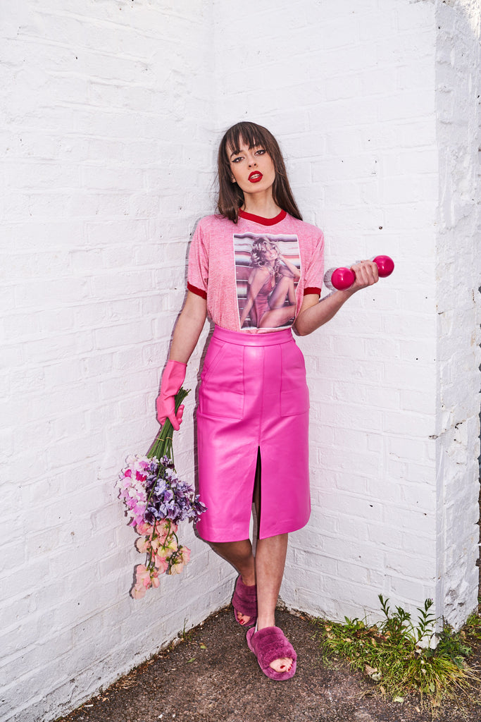 The Leather Midi - Bubble Gum Pink