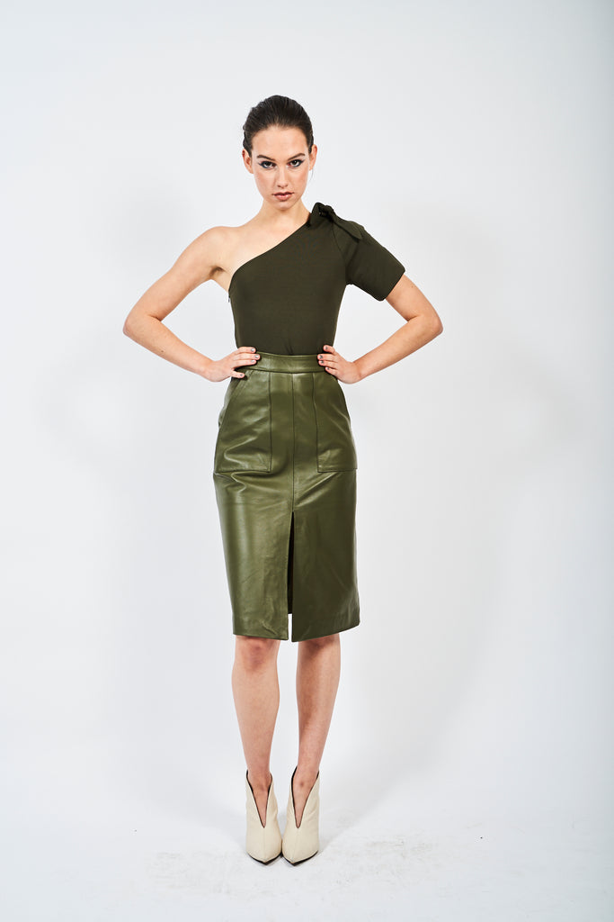 The Leather Midi - Amazon Green