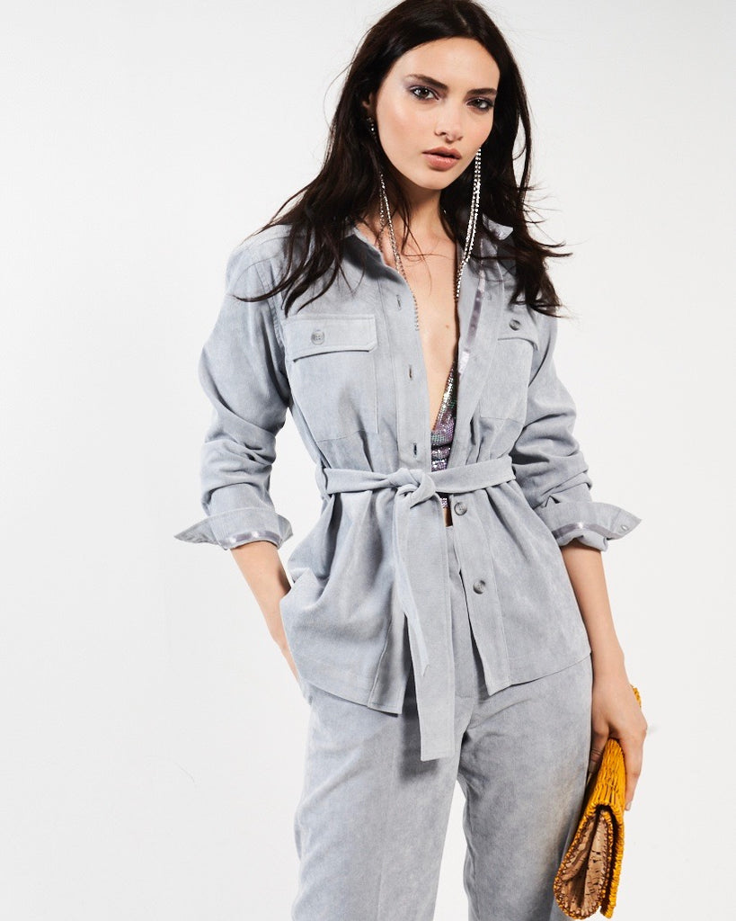 Belted Safari Jacket - Silver Grey