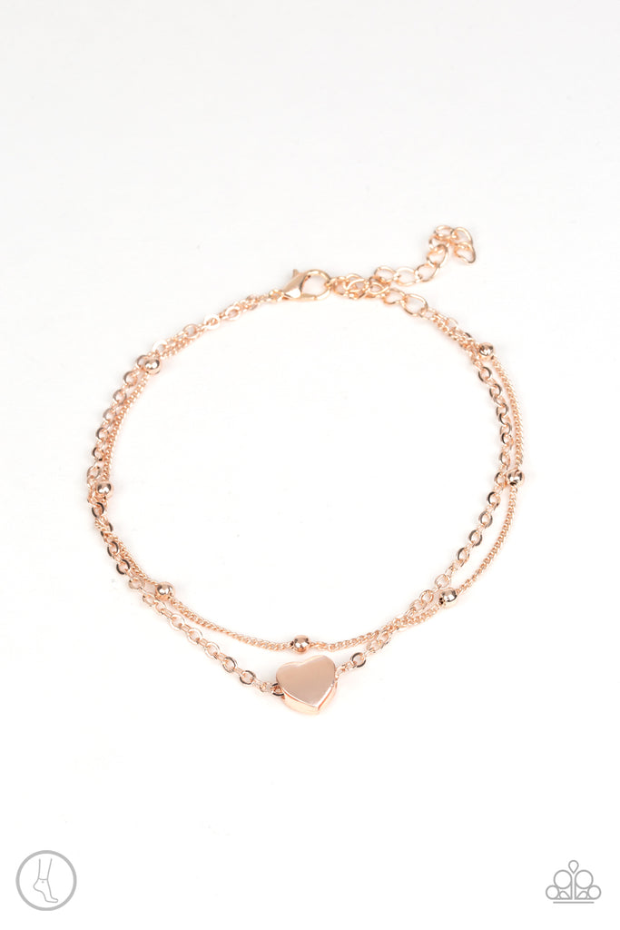 Ocean Heart Rose Gold Anklet Paparazzi Accessories B H Glitz N Glam