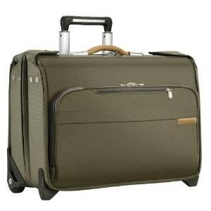 Briggs & Riley Baseline Carry-On Wheeled Garment Bag Olive Green