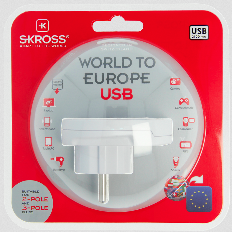 SKROSS World Adapter to Europe USB