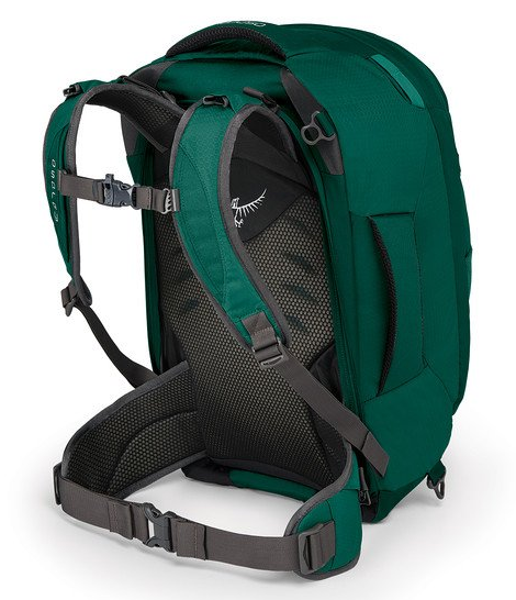 Osprey Fairview 40L Backpack Rainforest Green Back Straps Lumbar Support