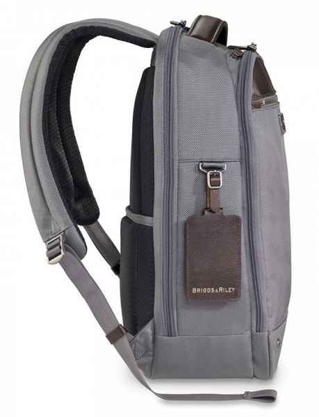 Briggs & Riley @Work Medium Slim Backpack Grey Side