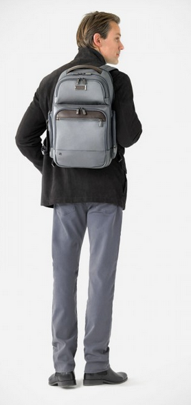 Wearing Grey Briggs & Riley @Work Medium Cargo Backpack